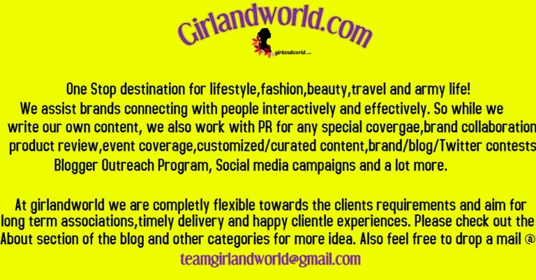 swapnil Pnadey girlandworld india best blog Army wife blog soldier's girl Army life blog Best lifestyle blog travel fashion beauty blogger outreach program Website social media campaigns PR blog contest twitter contests