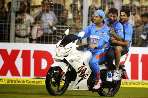 mahendra singh dhoni on his bike