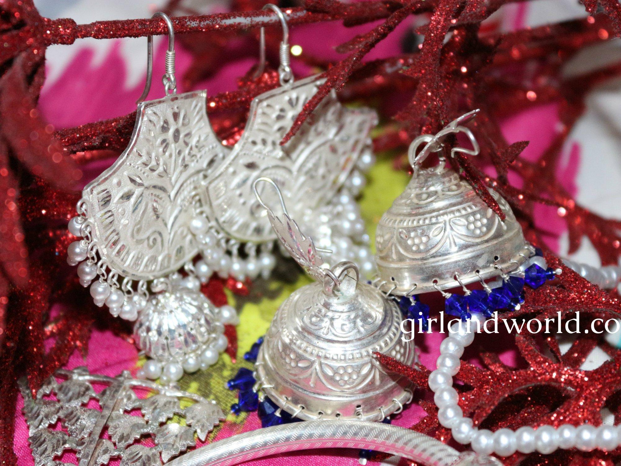 Navrtatra fashion silver jewelry Kashmir jewelry ethnic accessories jammu jewelry dogri traditional jewelry beautiful designs of jewelry indian jewelery silver jewelry silver price silver dsigns silver use silver bracelets silver earrings sliver jhumki