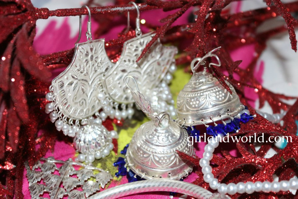 Navrtatra fashion silver jewelry Kashmir jewelry ethnic accessories jammu jewelry dogri traditional jewelry beautiful designs of jewelry indian jewelery silver jewelry silver price silver dsigns silver use silver bracelets silver earrings sliver jhumki