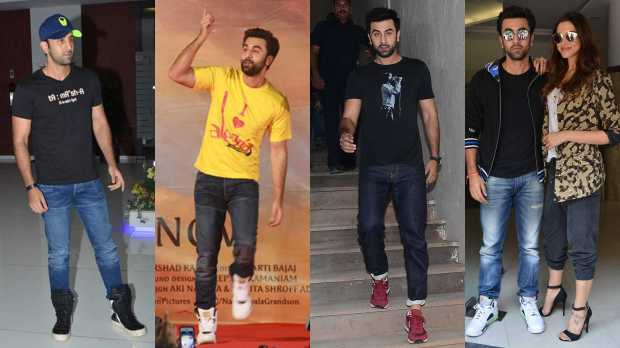 sneaker look Ranbir kapoor, myntra nike shoes online shopping how to dress style tips bollywood celebrities