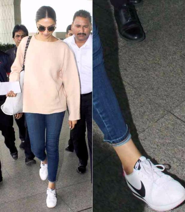 Deepika Padukone style sneaker look deepika Padukone myntra nike shoes online shopping how to dress style tips bollywood celebrities