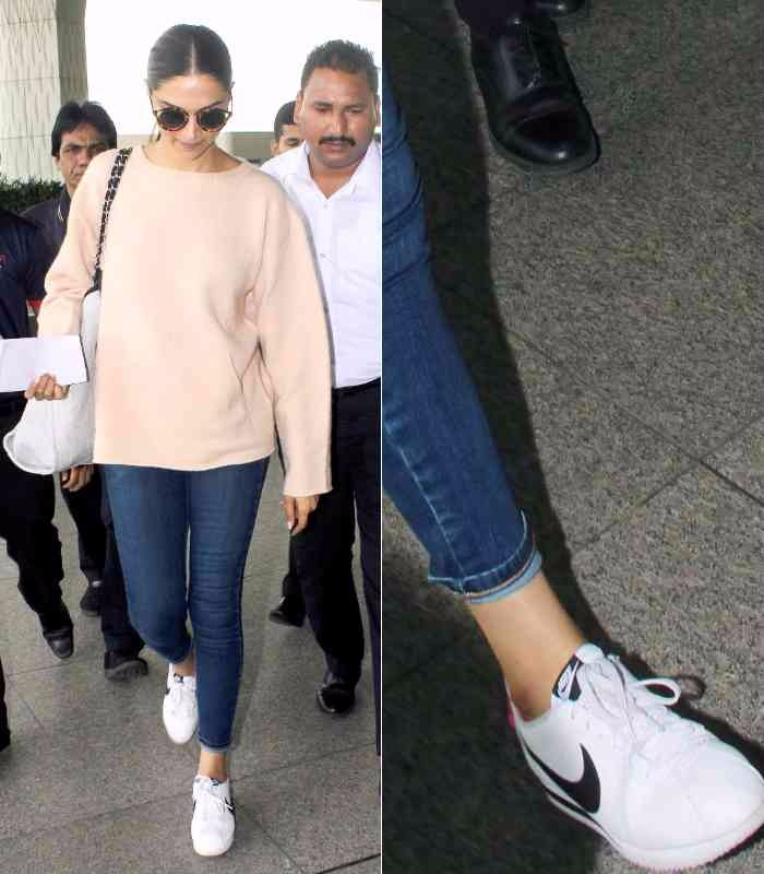 Deepika Padukone style sneaker look deepika Padukone myntra nike shoes online shopping how to dress style tips bollywood celebrities