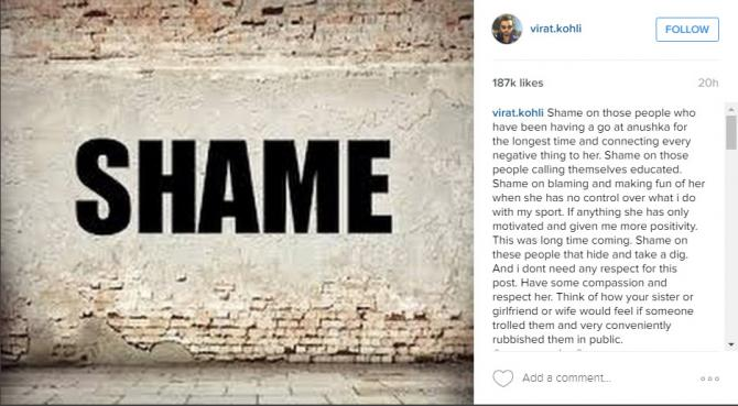 when virat defended anushka sharma