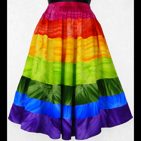 _rainbow_spectrum_tiered_skirt_knee_length_multi_color_elastic_waist