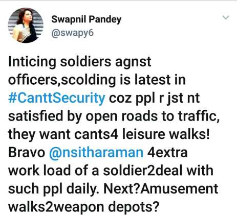 cantonment roads open, nirmala sitharaman, ministry of defense, civilian, public people army military army wife security, defense land corruption army chief signature campaign