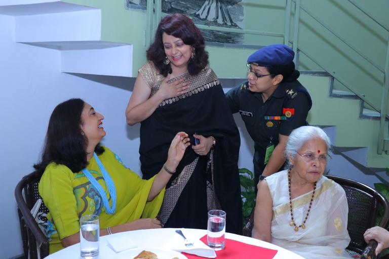 Army CHief Wife Mrs Madhulika Rawat AWWA president at a book launch party  Mrs Madhulika Rawat AWWA president hd picture wife of Army CHief General rawat Manoj tiwari Mp