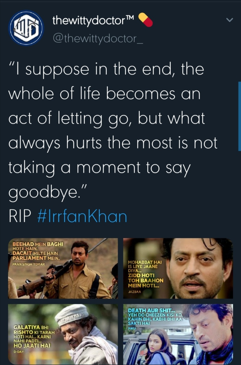 irfan khan death colon cancer condolence messages celebrities india bollywood actor movies work twitter demse passes away death national loss state honours