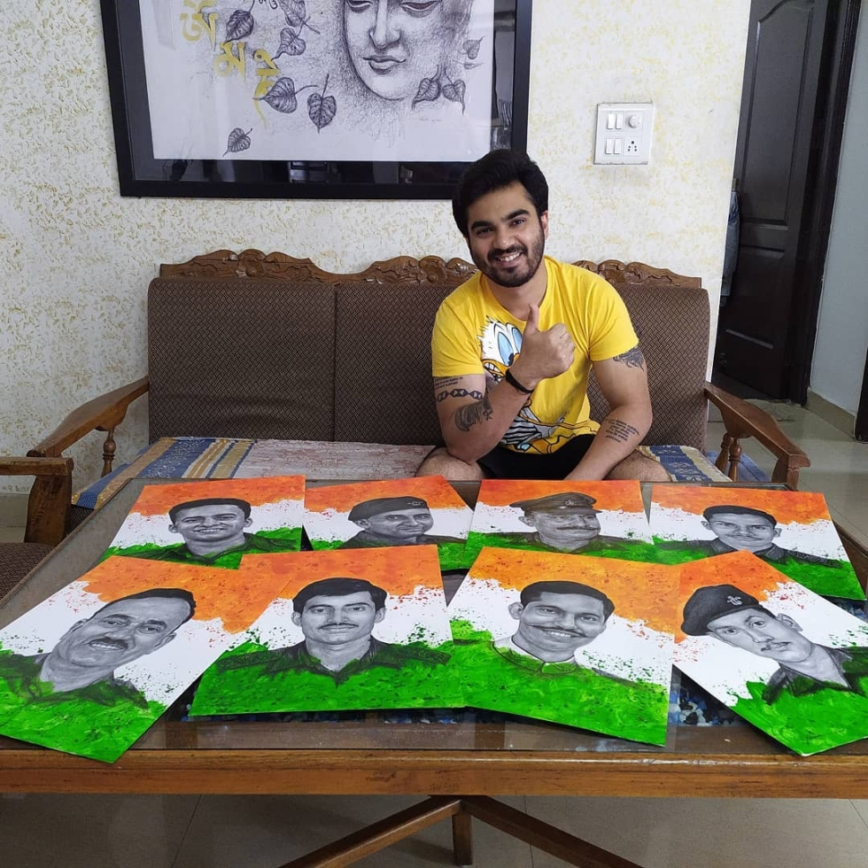 hutansh verma portraits of patriots martyr families paintings art