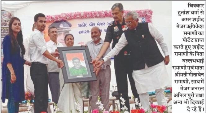 delhi based wife art painting creative culture hutansh verma portraits of the patriots artist painter martyr families vikram batra vijyant thapar