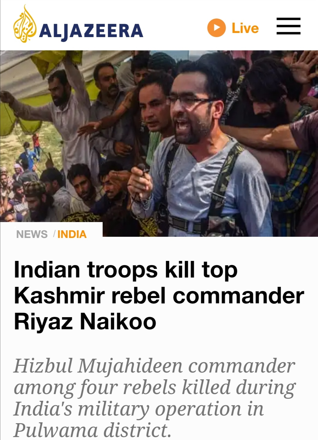 false reporting kashmir martyrs azaadi freedom fighters security forces riyaz naikoo terrorist hizbul mujahidin Hm terror outfit encounter indian army lutyen media presstitutes International media
